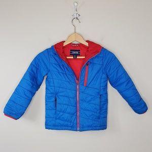 Lands' End | Blue & Red Puffer Coat